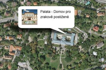 Letecký pohled na domov Palata
