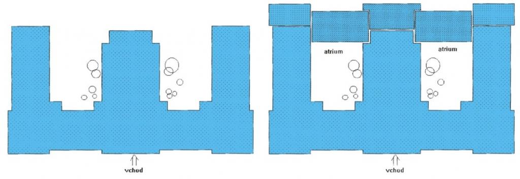 Půdorys budovy před a po přestavbě